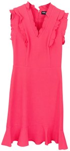 Karl Lagerfeld Pink Ruffle V-neck Sleeveless Dress