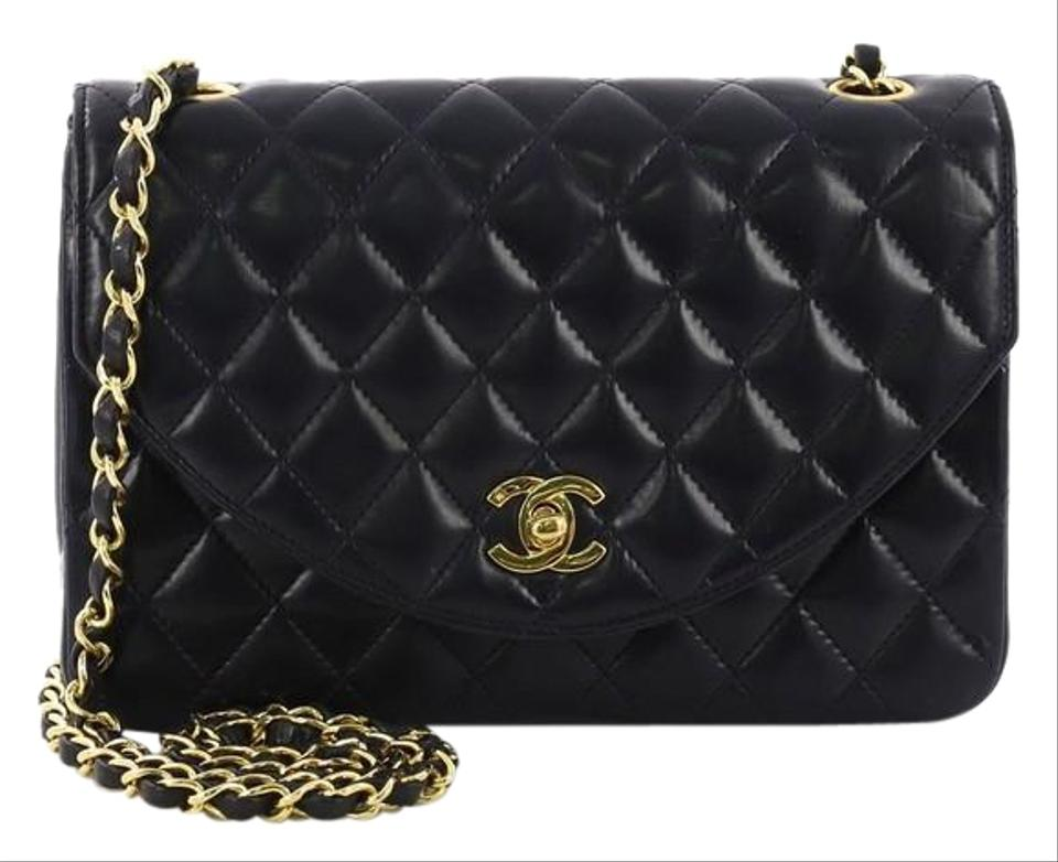 791a83e44b2aa7 Chanel Classic Flap Vintage Round Quilted Lambskin Small Navy Leather  Shoulder Bag