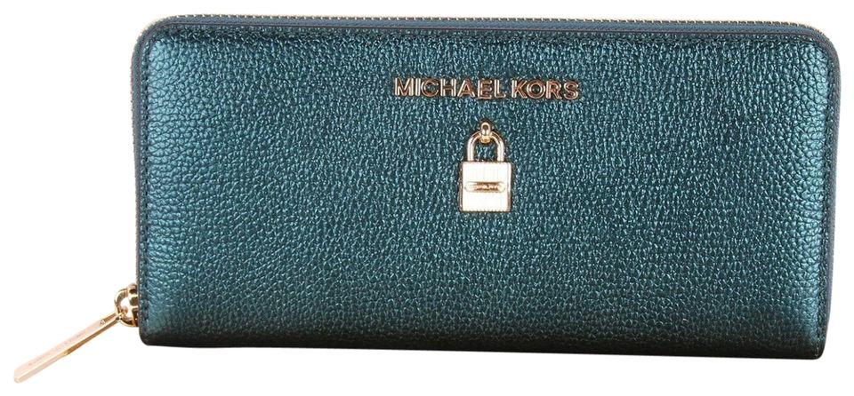 962a0c0fbac3 Michael Kors Dark Teal Green Adele Zip Around Continental Clutch Bag Boxed  Wallet