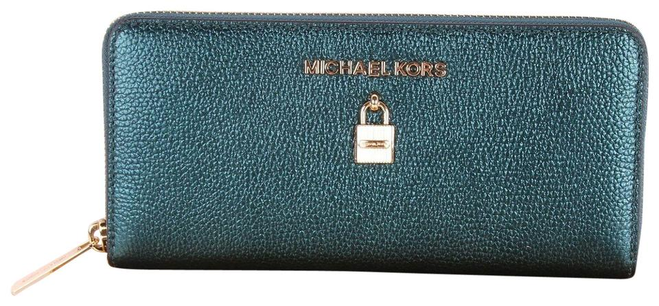 bf54c15f85c0 Michael Kors Dark Teal Green Clutch Adele Zip Around Continental Bag Boxed  Wallet