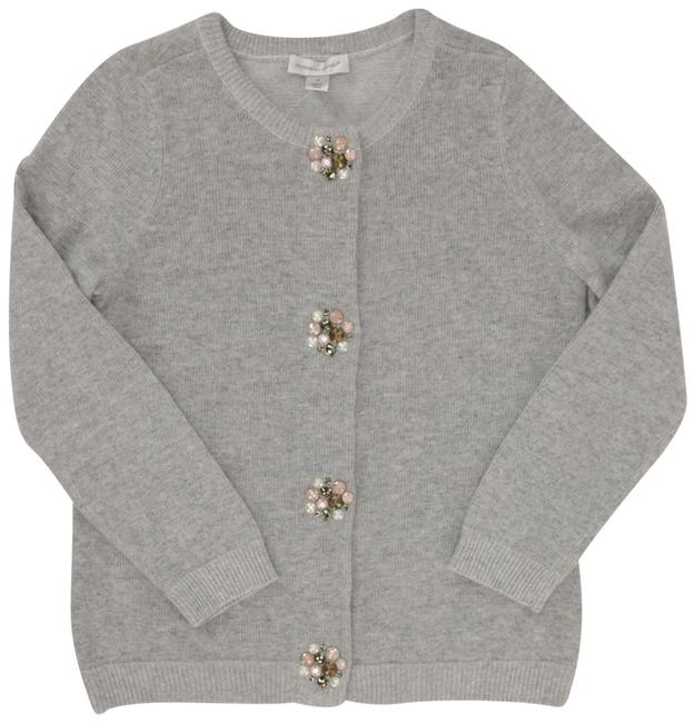 Item - Grey Angora with Dazzling Jeweled Beaded Buttons Cardigan Size 8 (M)