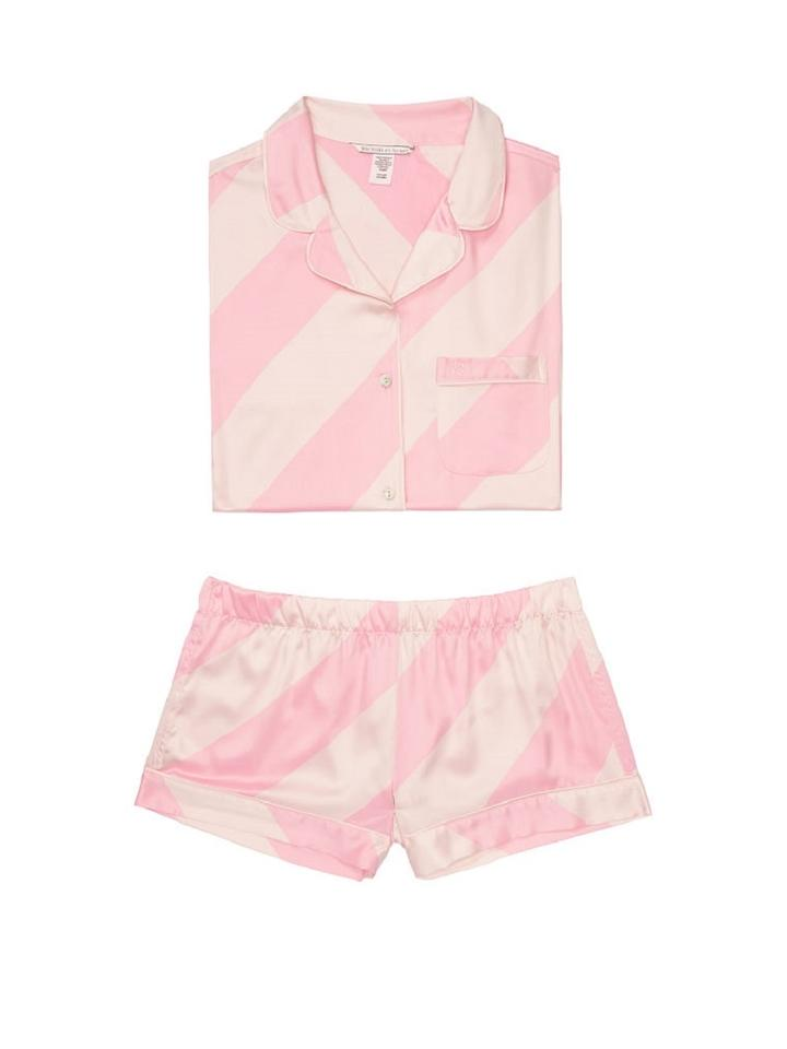 Victoria s Secret Lightweight Silky-soft Vs Embroidery Button Down Shirt  PINK CANDY CANE STRIPE Image ... 0f2a3b10d