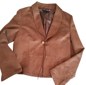 Parallel Jacket Flared Sleeves Western Tan Faux Suede Blazer