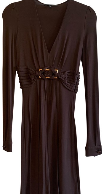 Item - Brown Braided Belt Long-sleeve Mid-length Cocktail Dress Size 0 (XS)
