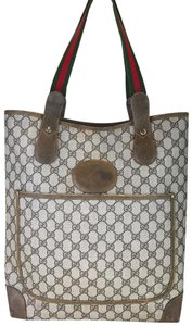 Gucci Vintage Striped Tote in Brown