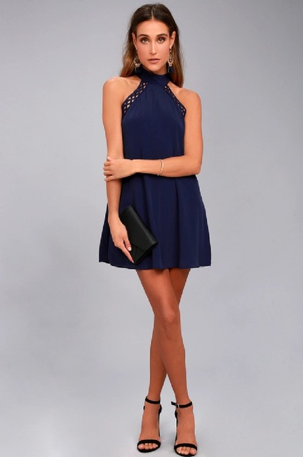 Lulu*s short dress Navy Resort Sundress Night Out Halter Swing on Tradesy Image 3