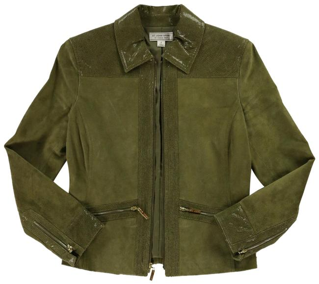 Item - Green Suede and Snakeskin Gold Zippers Jacket Size Petite 4 (S)