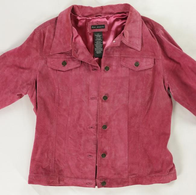 For Joseph Suede Satin Pink Leather Jacket Image 4