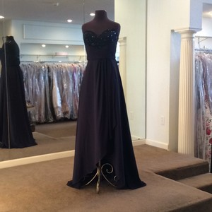 Mori Lee Navy Chiffon 142 Formal Bridesmaid/Mob Dress Size 8 (M)