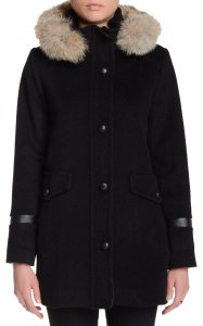 Pendleton Detachable Hood Lambswool Shell Button Placket Coyote Fur Trim Lined Trench Coat