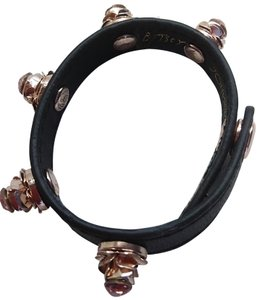 Betsey Johnson Betsey Johnson New Rose Black Leather Bracelet