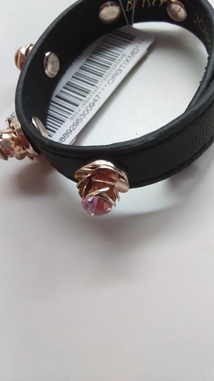 Betsey Johnson Betsey Johnson New Rose Black Leather Bracelet Image 2