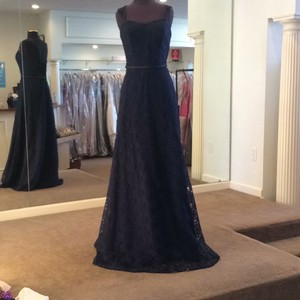 Mori Lee Navy Lace 21505 Formal Bridesmaid/Mob Dress Size 10 (M)