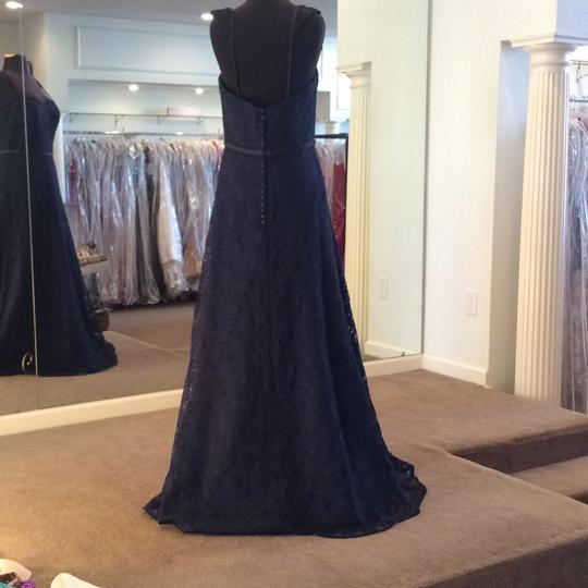 Mori Lee Navy Lace 21505 Formal Bridesmaid/Mob Dress Size 10 (M) Image 2