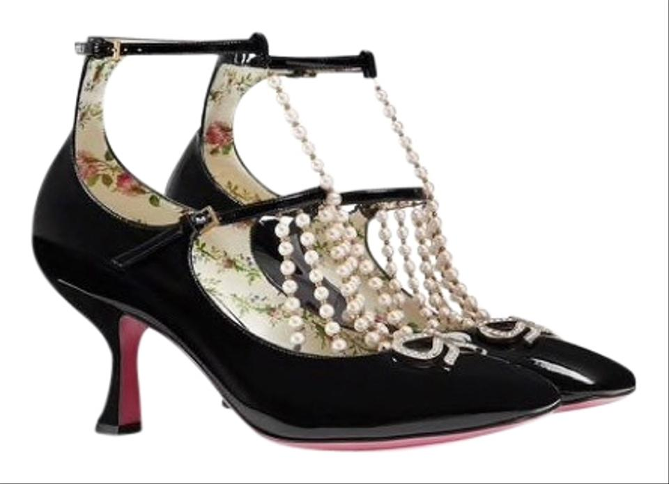 260f29f9e2c8 Gucci Moire T Strap Leather with Pearls Pumps Size EU 42 (Approx. US ...