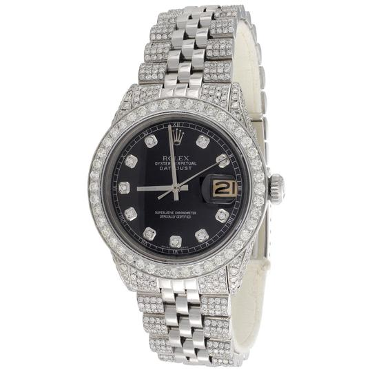 Preload https://img-static.tradesy.com/item/24473688/rolex-stainless-steel-black-dial-mens-36mm-ref-1601-datejust-diamond-jubilee-band-875-ct-watch-0-0-540-540.jpg