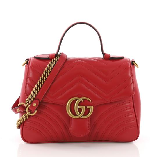 8796a7c6aa2 Gucci Flap Bag Marmont Gg Top Handle Matelasse Small Red Leather ...
