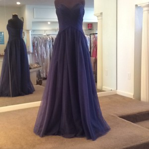 Mori Lee Navy Tulle 112 Formal Bridesmaid/Mob Dress Size 10 (M)