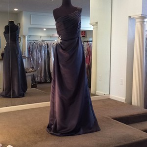 Mori Lee Charcoal Satin 657 Formal Bridesmaid/Mob Dress Size 10 (M)