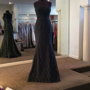 Mori Lee Charcoal Lace 726 Formal Bridesmaid/Mob Dress Size 8 (M)