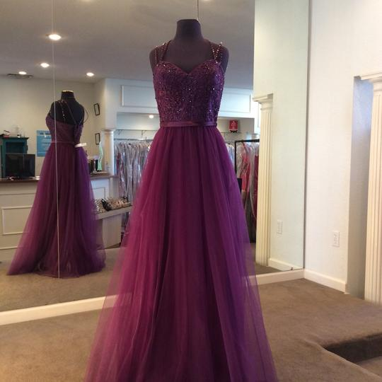 Mori Lee Eggplant Tulle 151 Formal Bridesmaid/Mob Dress Size 14 (L) Image 0
