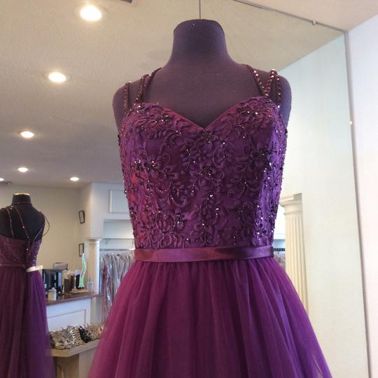 Mori Lee Eggplant Tulle 151 Formal Bridesmaid/Mob Dress Size 14 (L) Image 1