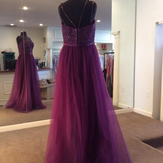 Mori Lee Eggplant Tulle 151 Formal Bridesmaid/Mob Dress Size 14 (L) Image 3