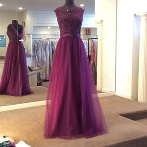 Mori Lee Eggplant Tulle 156 Formal Bridesmaid/Mob Dress Size 16 (XL, Plus 0x)