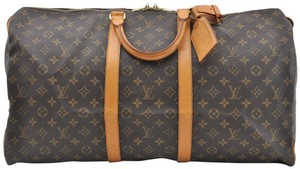 Louis Vuitton Lv Mono Duffle Boston Brown Travel Bag