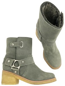 Belle by Sigerson Morrison Suede Buckle Shearling Ankle Dark Grey Boots