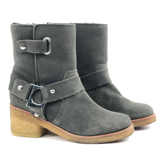 Belle by Sigerson Morrison Suede Buckle Shearling Ankle Dark Grey Boots Image 1