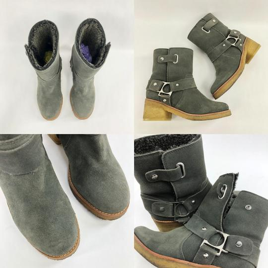 Belle by Sigerson Morrison Suede Buckle Shearling Ankle Dark Grey Boots Image 10