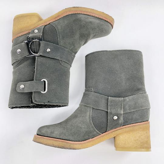Belle by Sigerson Morrison Suede Buckle Shearling Ankle Dark Grey Boots Image 5