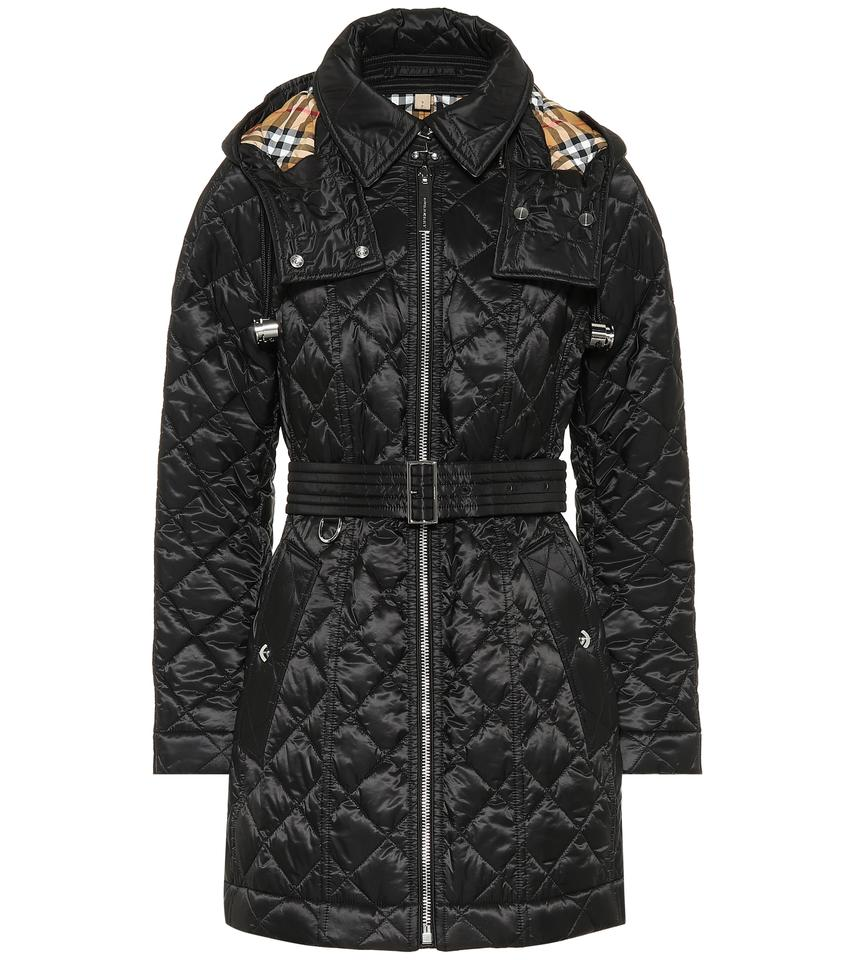 Burberry Black Baughton Quilted Long Jacket With Belt