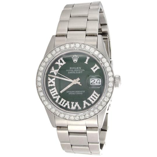 Preload https://img-static.tradesy.com/item/24473965/rolex-stainless-steel-green-roman-numeral-dial-mens-36mm-datejust-ref-16014-diamond-275-ct-watch-0-0-540-540.jpg