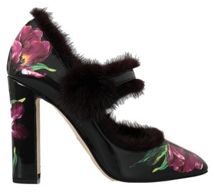 Dolce&Gabbana D4147-3 Women's Leather Tulip Fur Black / purple Pumps