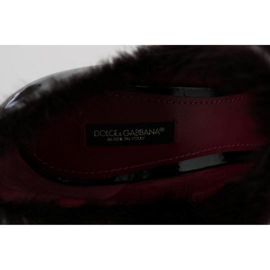 Dolce&Gabbana D4147-3 Women's Leather Tulip Fur Black / purple Pumps Image 4