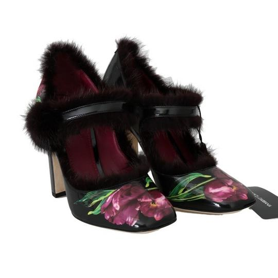Dolce&Gabbana D4147-3 Women's Leather Tulip Fur Black / purple Pumps Image 6