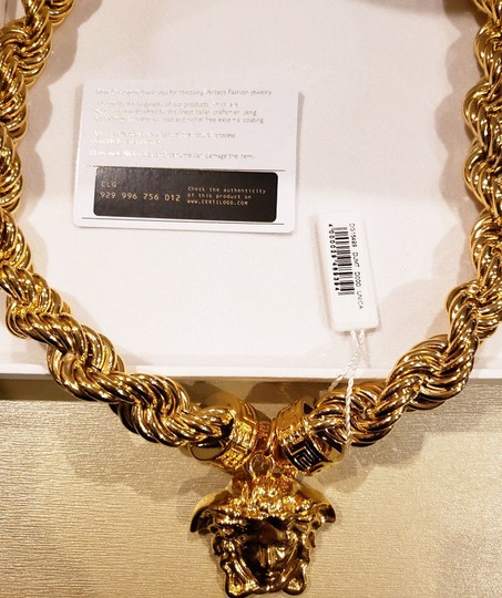 Versace New Versace 24K Gold Plated Medusa Pendant Necklace as seen Bruno Mars Image 10