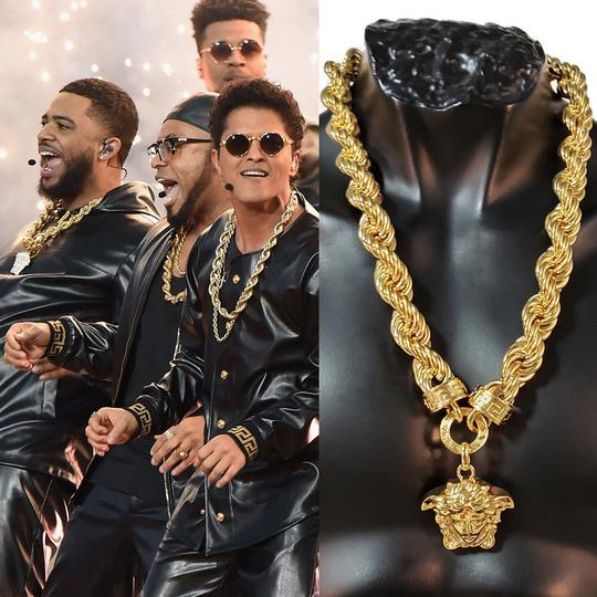Versace New Versace 24K Gold Plated Medusa Pendant Necklace as seen Bruno Mars Image 11