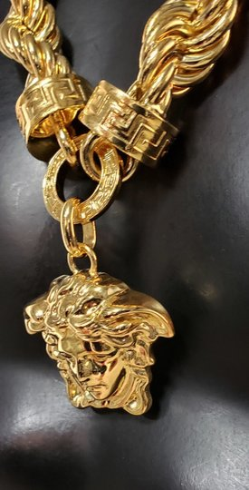 Versace New Versace 24K Gold Plated Medusa Pendant Necklace as seen Bruno Mars Image 8