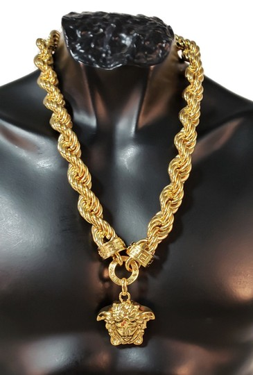 Versace New Versace 24K Gold Plated Medusa Pendant Necklace as seen Bruno Mars Image 1