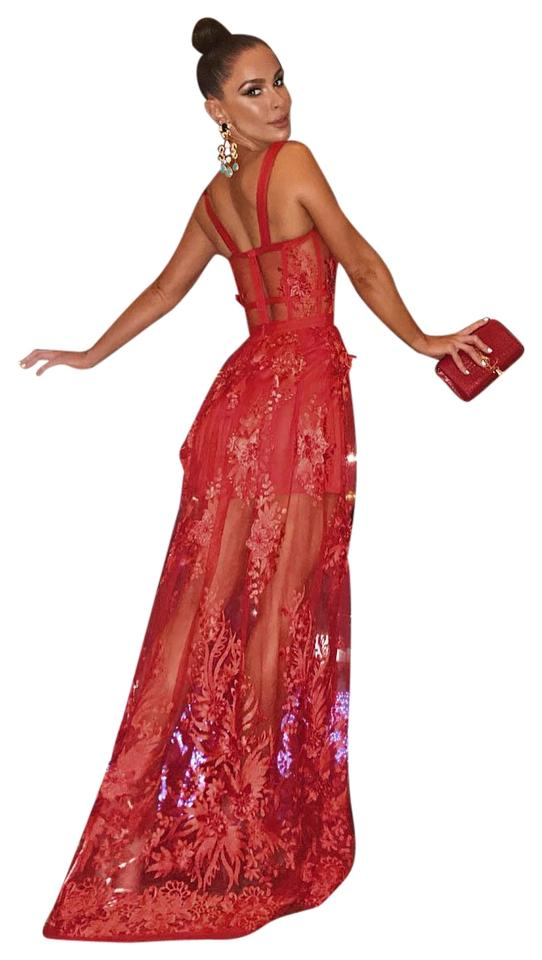 Dior Bella Red Francisca Lace Corset Maxi Long Formal Dress Size 8 M 66 Off Retail