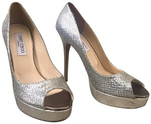 Jimmy Choo Glitter Peep Toe Platform Stiletto Metallic Silver Pumps