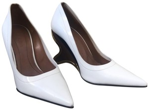 Marni Pointed Toe Leather White Wedges