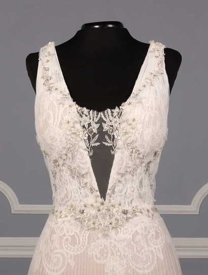 Isabelle Armstrong Silk White/Nude French Alencon Lace and English Net Willow Formal Wedding Dress Size 10 (M) Image 2