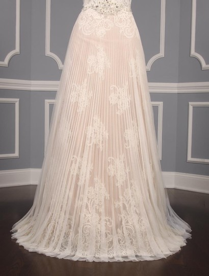 Isabelle Armstrong Silk White/Nude French Alencon Lace and English Net Willow Formal Wedding Dress Size 10 (M) Image 4