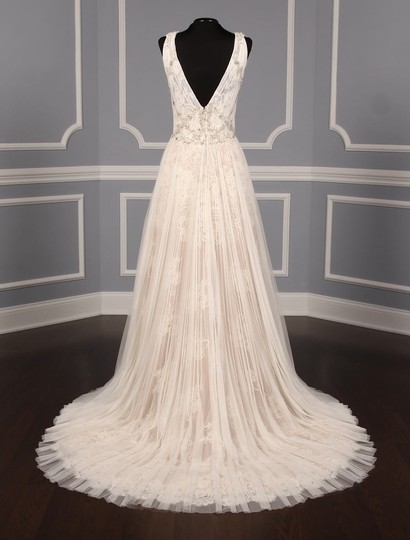 Isabelle Armstrong Silk White/Nude French Alencon Lace and English Net Willow Formal Wedding Dress Size 10 (M) Image 6