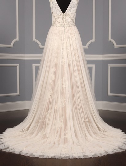 Isabelle Armstrong Silk White/Nude French Alencon Lace and English Net Willow Formal Wedding Dress Size 10 (M) Image 9