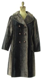Russel Taylor Faux Vintage Swing Peacoat Trench Fur Coat